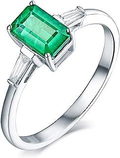 ButiRest - Anello in vero oro 750, 18 carati, con 4 denti smeraldi, taglio smeraldo da 1,3 ct, verde smeraldo VS e diamant...