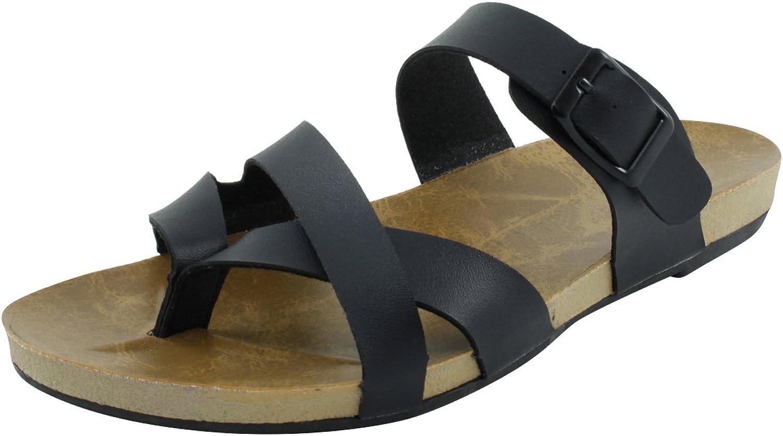 Cambridge Select Women's Thong Strappy Buckle Flat Slide Sandal