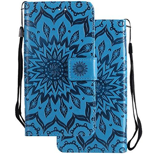 LEMORRY Fundas para Huawei Mate 20 Lite Estuches Funda Cuero Flip Cover Billetera Bolsa Piel Protector Magnética Cierre Suave TPU Silicona Tapa Carcasa para Huawei Mate 20 Lite, Blossom (Azul)