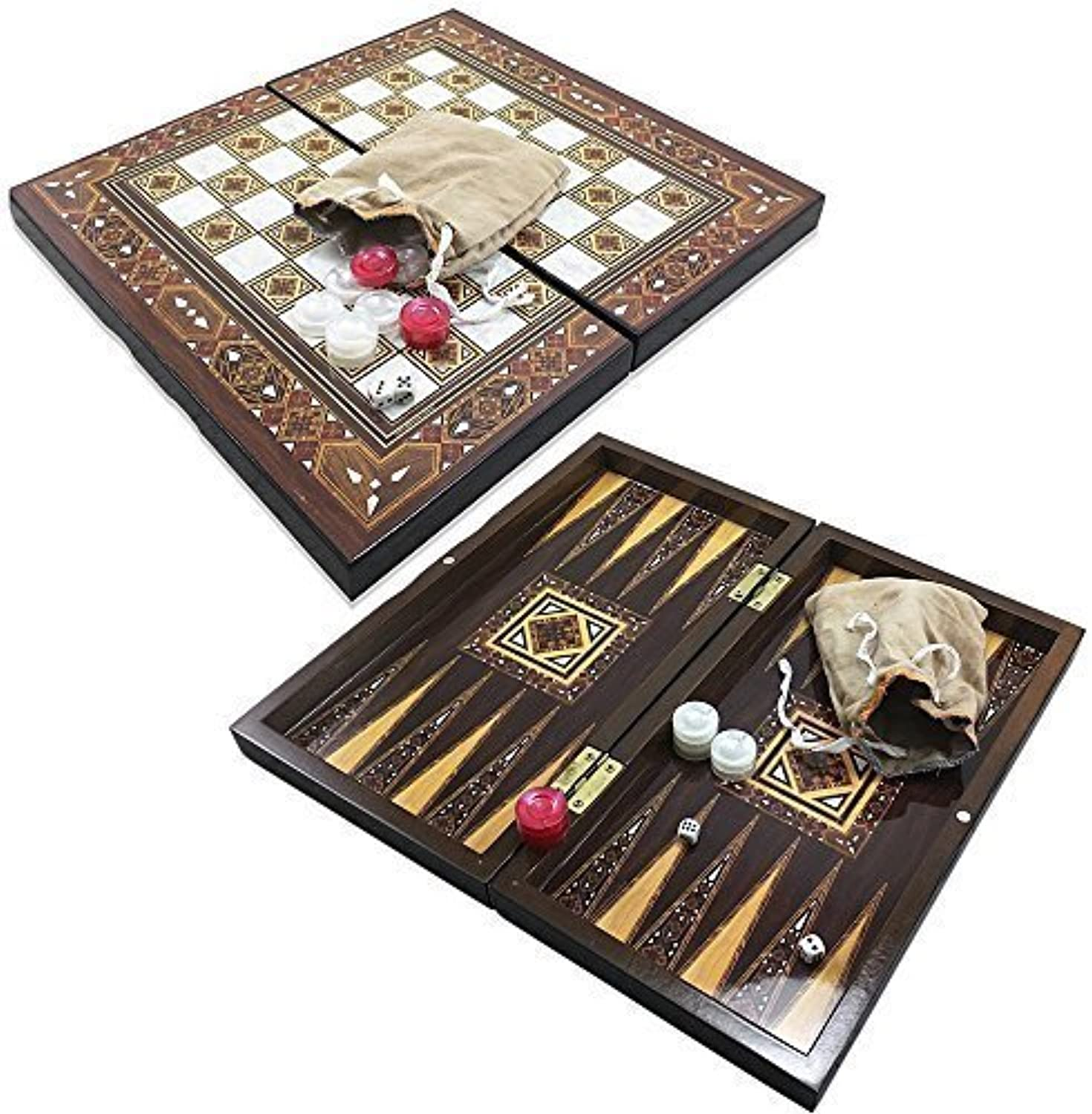 Die 33cm Pyramid Design Backgammon Board Game Set