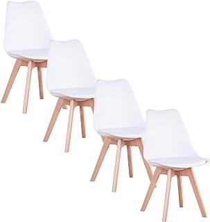 GrandCA Home Lot de 4 chaises, Chaise de Salle à Manger, Chaise de Style Nordique, Convient pour Salon, Salle à Manger (Bl...