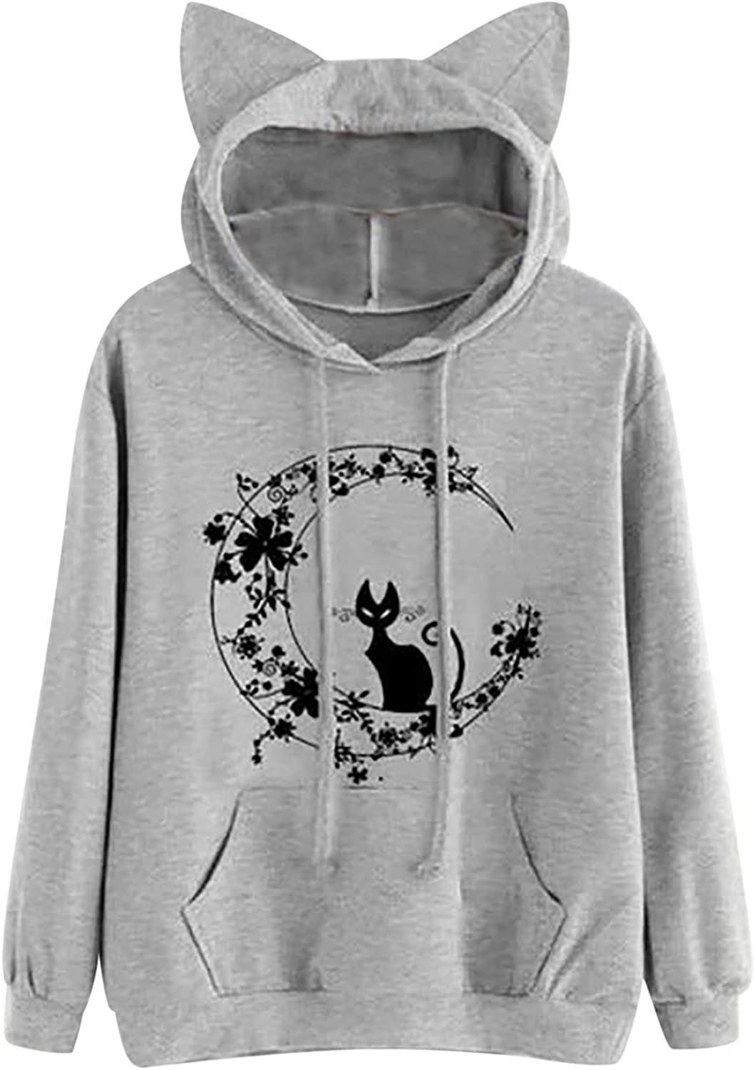 Cute Hoodies for Women Funny Cat Print Pullover Stitching Cute Ear Blouse Casual Loose Long Sleeve Sweatshirt