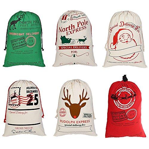 aspire Wholesale - Bolsas de Lona Gigantes de Navidad con cordón, Reutilizables, Bolsa de la Compra, Almacenamiento de Regalo, Colores Variados, Talla única