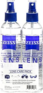Zeiss Lens Care Pack - 2 - 8 Ounce Bottles of Lens Cleaner, 1 Microfiber Cleaning Cloth and 10 Pre Moistened Lens Wipes