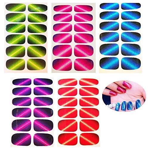 Amacoam 5 Pcs Neuen Nagelaufkleber Katzenauge Reihe von Ultra Dünne Models Vollen Nagel Aufkleber Kunst Maniküre DIY 5 Farben(Rot, Blau, Lila, Orange, Grün)