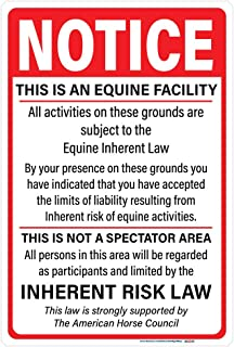 Notice Equine Facility Sign, Supplemental Equine Liability Sign, 10
