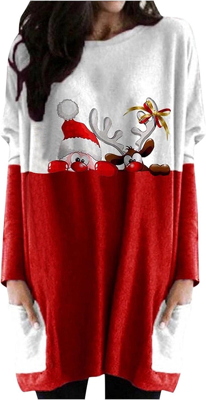 Abinaa Casual Sweatshirt Dress for Women Long Sleeve Crew Neck Pocketed Knee-Length Tunic Sweatshirt Dress