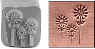 Beaducation Flowers Metal Design Stamp, 9mm Floral Garden Daisy Daisies Punch Stamping Tool for Hand Stamped DIY Jewelry Crafts Original Metal Design Stamps