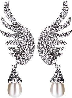 Mini Pluma De Plata Pendientes de ala de ángel gota colgante