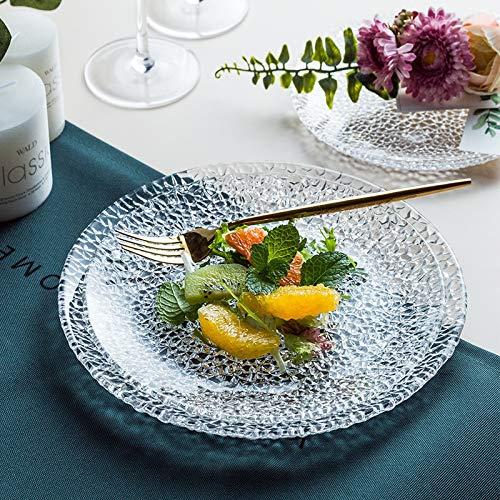 HVTKL Modelos creativos de Cristal de Hielo Plato de Fruta de Cristal del Postre Kit Plato de vajilla de Vidrio Cocina de su casa (Color : Glass Plate, Size : 9 Inch)