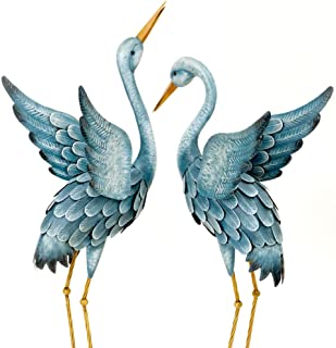 Best Bits and Pieces - Japanese Blue Heron Metal Garden Sculpture Set - Two Metal Cranes Perfect for Garden Décor - Metal Garden Art, Outdoor Lawn and Patio Décor, Backyard Sculpture, and Decoration. Review