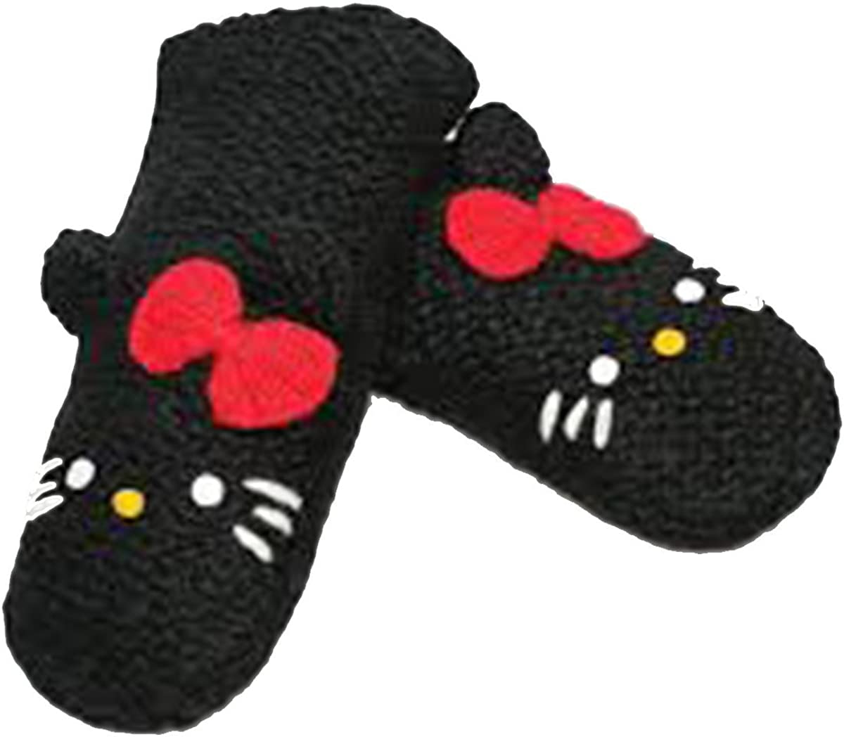 Delux Knitwits Kids Hello Kitty Mittens Black