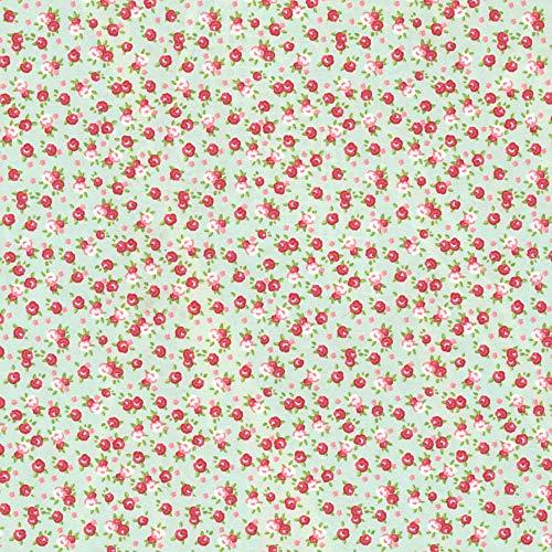 CRELANDO® Textil-Klebefolie für Möbel und Schreibwaren, 30 x 100 cm *selbstklebend (türkis rosarot Rosen)