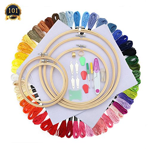 SUBANG Full Set of Embroidery Starter Kit Cross Stitch Tool Kit Including 5 Bamboo Embroidery Hoop, 50 Vivid Color Threads, 12 by 18-Inch 14 Count Classic Reserve Aida and Tool Kit