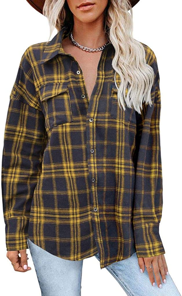 MIHOLL Women's Loose Fit Long Sleeve Button Down Collared Plaid Flannel Shirts