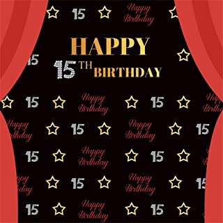 AOFOTO 6x6ft Sweet Girl 15th Birthday Backdrop for Pictures Young Ladies Daughter 15 Years Old Bday Party Celebration Stars Red Curtain Black Background Photography Studio Props Vinyl