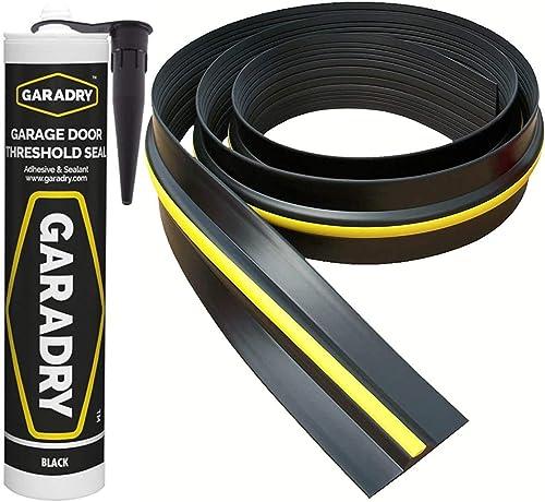 Weather Stop joint de seuil de porte de garage de 15 mm (hauteur) | 3,12 m | PVC noir et jaune | adhésif inclus