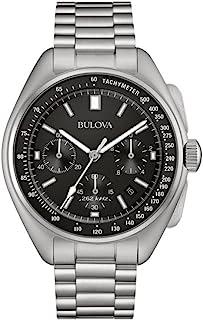Bulova - Piloto Lunar 96B258 - Reloj de Pulsera de diseño para Hombre - Función de cronógrafo - Acero Inoxidable - Esfera Negra
