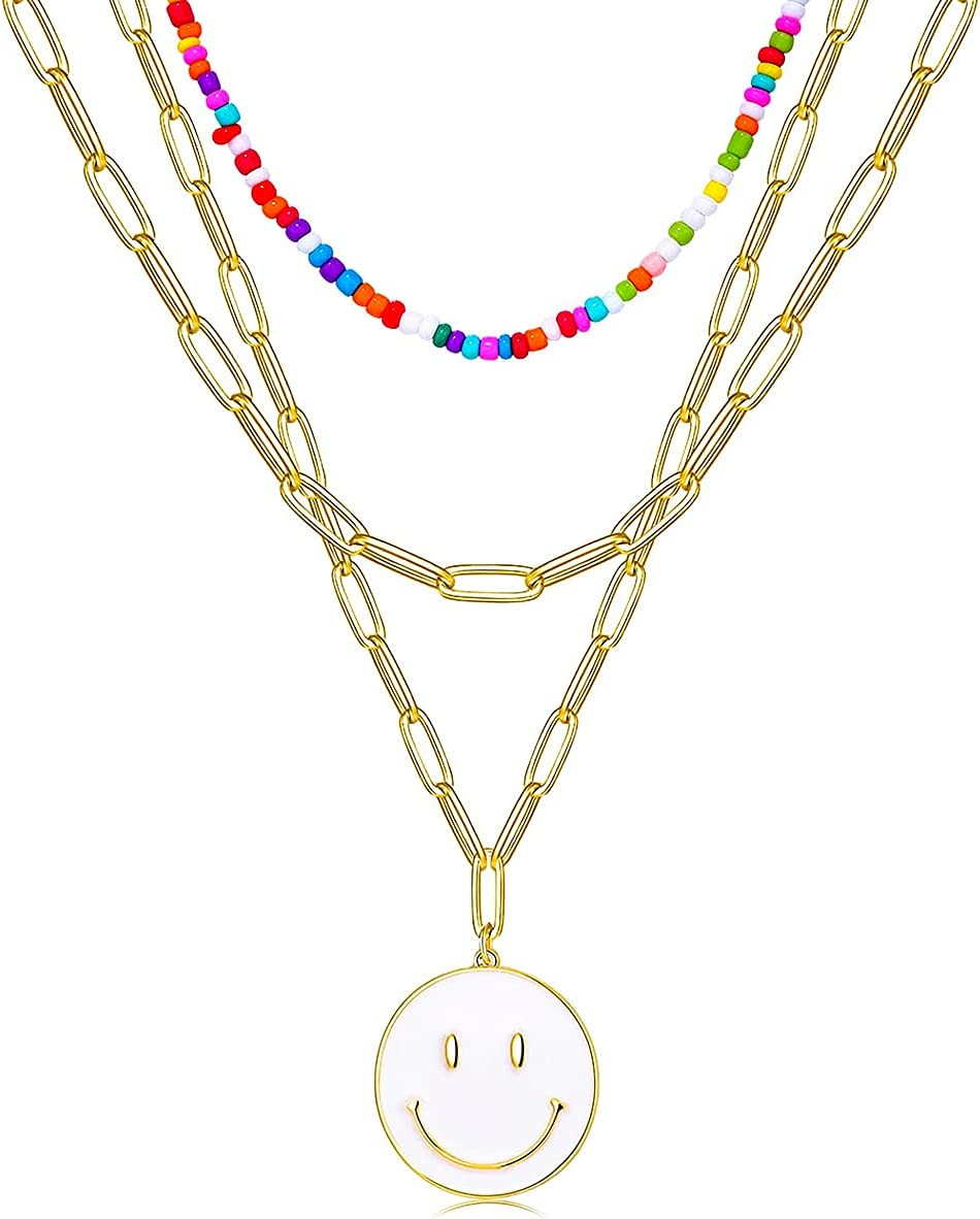 Adilamny Smiley Face Necklaces 14K Gold Layered Smiley Face Beaded Necklaces Dainty Paperclip Chain Smiley Face Pendant Necklace Y2k Trendy Necklace Preppy Jewelry Gift for Women