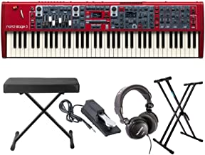 Nord Stage 3 Compact 73-Key Semi-Weighted Keyboard with Knox Stand, Bench, Sustain Pedal and Headphones Bundle (5 Items)
