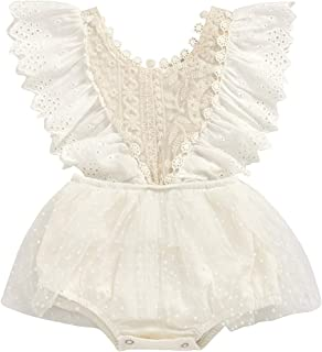 Baby White lace Dress Romper for Infant Baby Girl Birthday Christening Photoshoot Cute Vintage Princess Tutu 80cms (6-12 M...