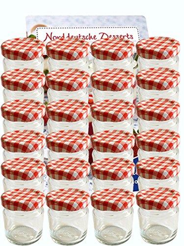 58er Set leere Rundgläser Mini Gläser 53ml Sturzgläser Honig Kaviar Marmeladengläser Obstgläser Einweckgläser Gläser, Einmachgläser, Portionsgläser, Probiergläser (Rot Karriert)