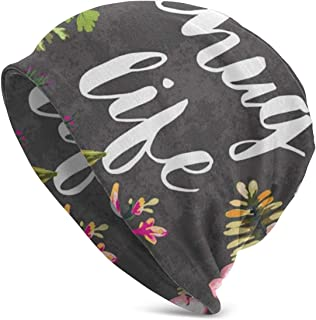 Beanie Hat, Thug Life Flower Slouchy Beanie Hat Cotton Winter Hats Unisex Skull Cap Black