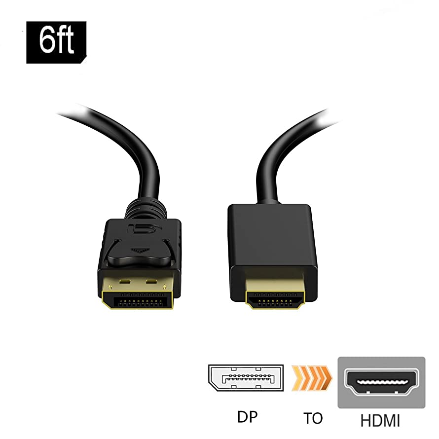 Handaes Gold Plated DP DisplayPort to HDMI HDTV Cable 6 Feet (Black)