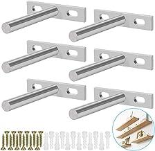 BUZIFU 6 stuks, onzichtbare zwevende plankdragers, 7,62 cm (3 inch), verborgen T-steun, verborgen steun met schroeven en w...