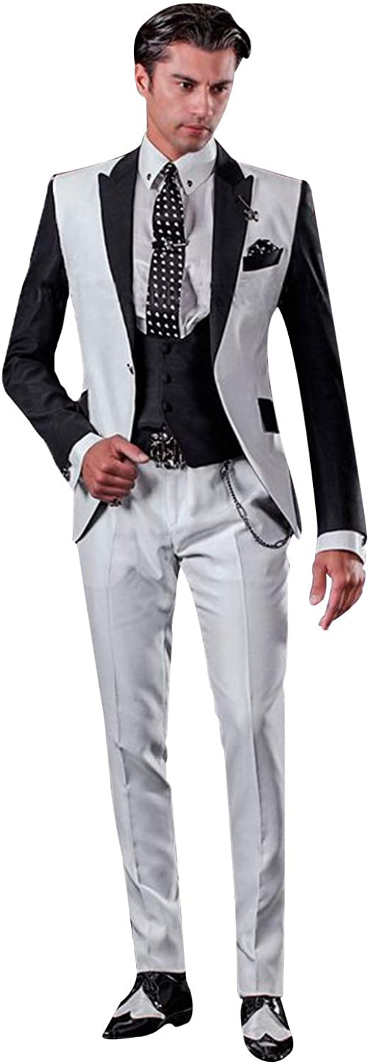 P&G Men's Three Pieces Suit One Button PeakLapel Dinner Party Wedding Tuxedos