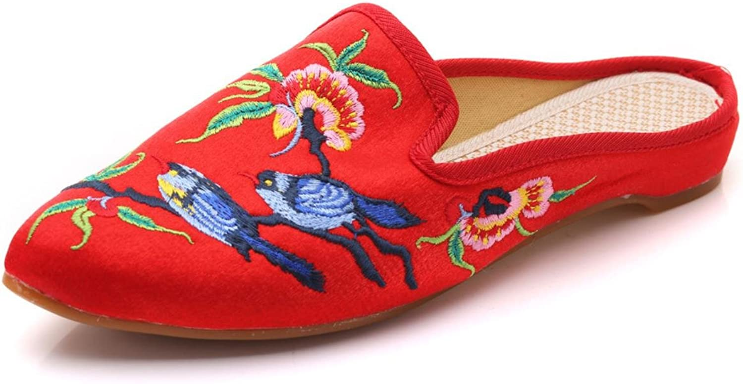Women Embroidered Pointed Toe Mules Slippers Summer Retro Ladies Comfort Embroidery Slide shoes
