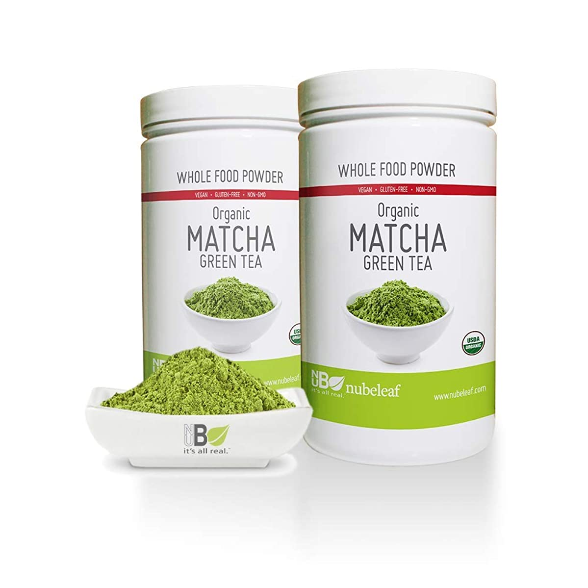 nubeleaf Organic Matcha Green Tea Powder- Premium Gourmet Matcha Green Tea Powder - Lattes, Smoothies, Baking, Recipes - No Additives, No Sugar - Antioxidants, Superfood, Energy