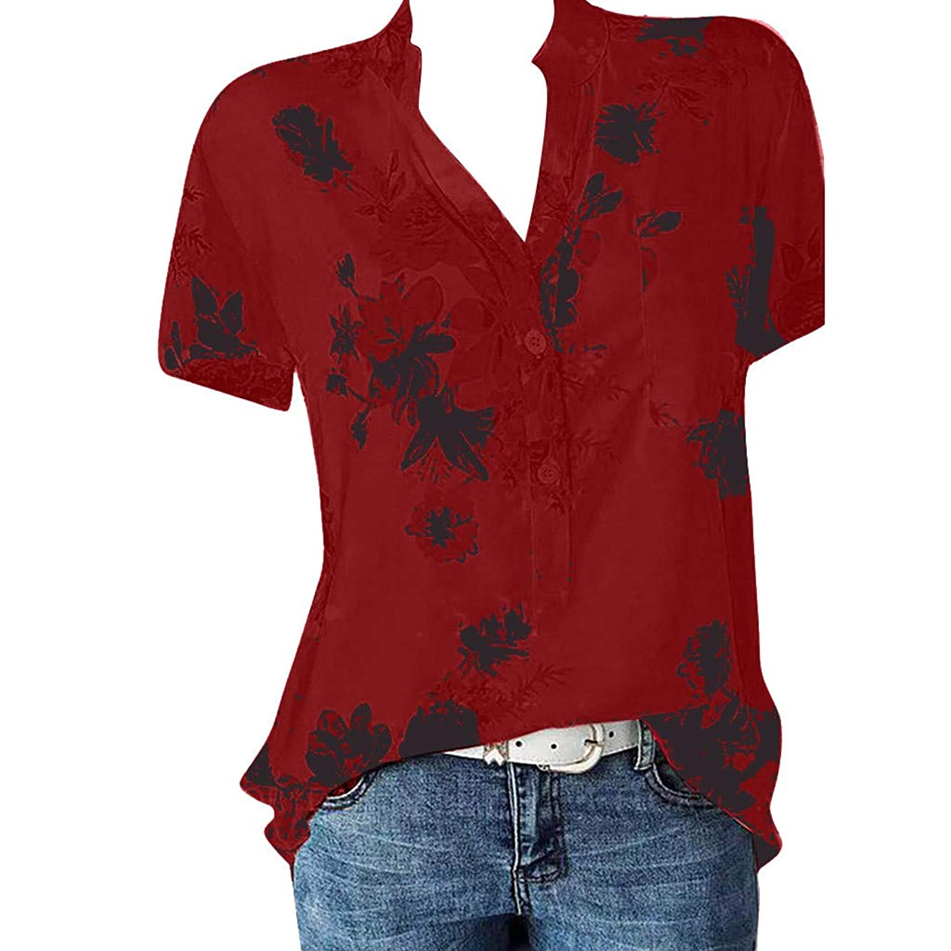 Fashion Womens Tops Casual Chiffon Button Floral Print Short Sleeve T-Shirts Blouses Loose Tunic Tops Tees Pullover