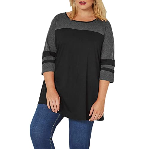 a2df8b73d66 Itsmode Women's 3/4 Sleeve Striped T-Shirt Color Block Plus Size Tops Tunic