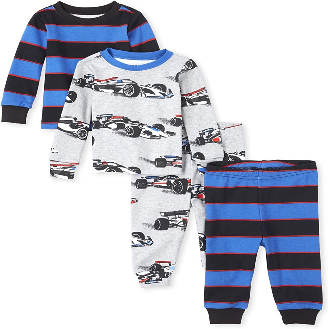 The Children's Place Boys' Baby and Toddler Race Car Snug Fit Cotton 4-Piece Pajamas