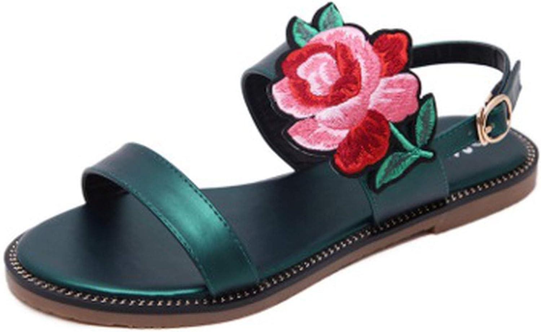 Yuren Snow Ladies Buckle Back Strap Sandals Embroidery Fabric Flowers shoes European Style Flat Sandalias women