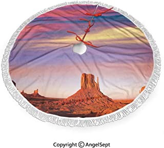30 inch Christmas Tree Skirt Monument Valley West Mitten and Merrick Butte Sunset Utah Desert,3D Print for Merry Christmas & New Year Party Holiday Home Decorations