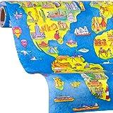 Geschenkpapier Welt   Weltkarte Geschenkpapier ONE WORLD   5m Geschenkpapier Rolle   Mädchen, Jungs zum Geburtstag, Ostern, Einschulung
