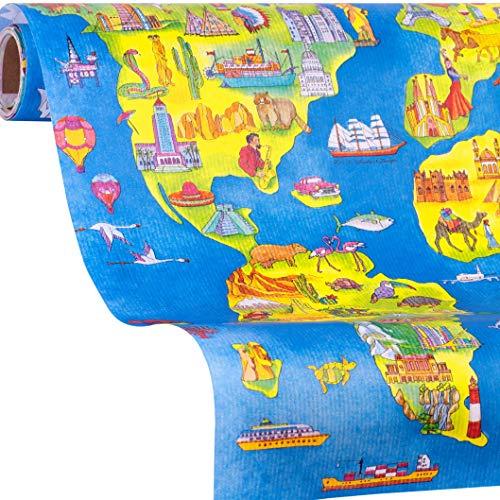 Geschenkpapier Welt | Weltkarte Geschenkpapier ONE WORLD | 5m Geschenkpapier Rolle | Mädchen, Jungs zum Geburtstag, Ostern, Einschulung