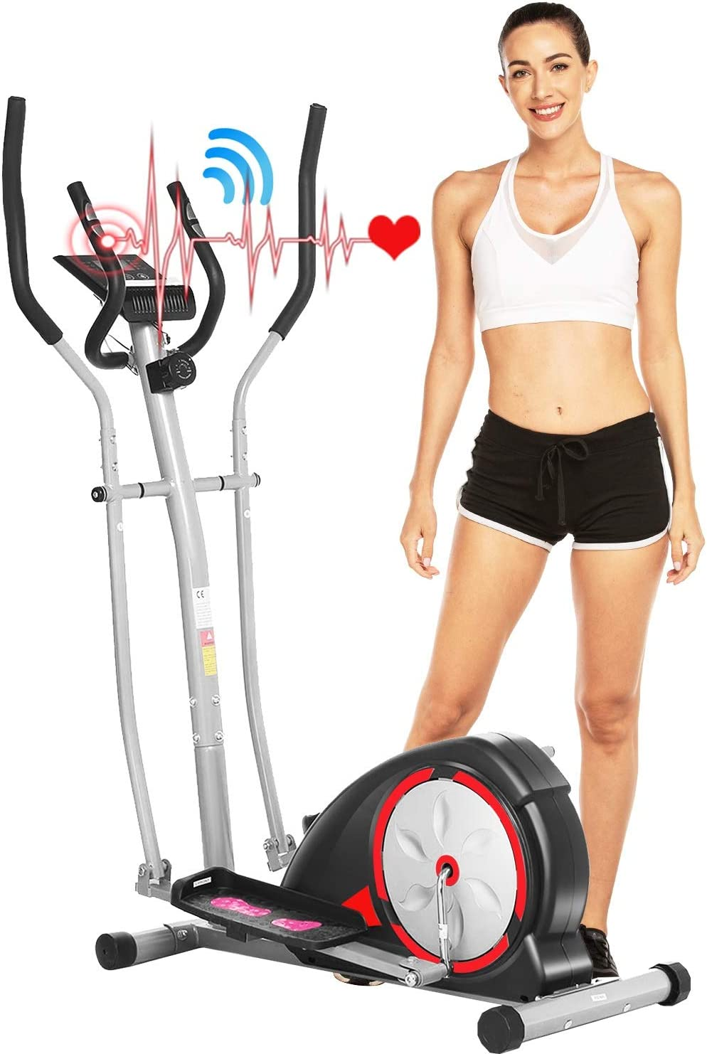 ANCHEER Elliptical Machine, Elliptical Exercise Trainer Machine with LCD Monitor and Pulse Rate Grips, Magnetic Smooth Quiet Driven for Home...