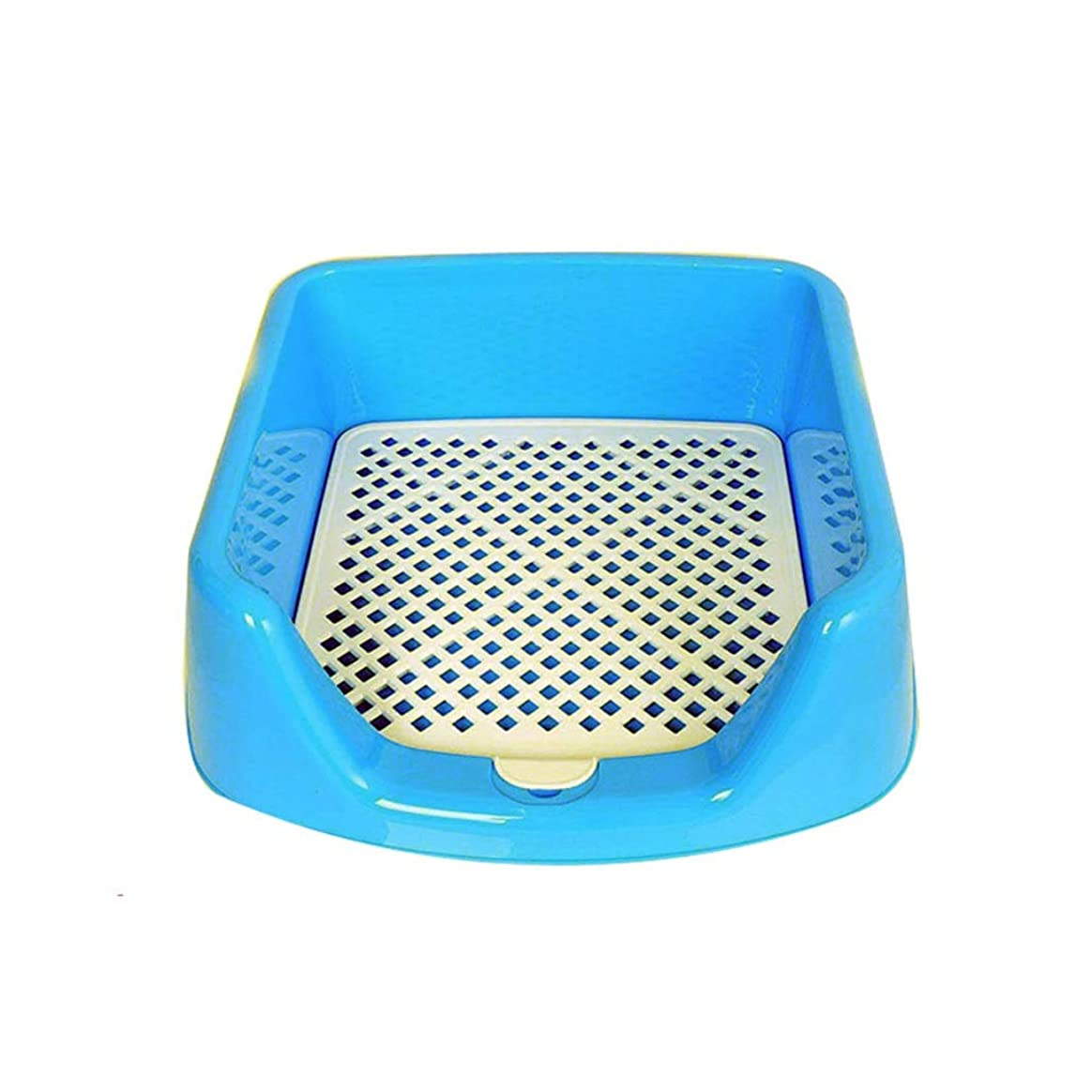 トレッドベスビオ山アナリスト猫砂猫のトイレ猫用砂箱 ペットトイレポータブル犬用トイレトレイ子犬トイレトレーニングパッドホルダーフェンス付き耐久性のあるメッシュペットトイレ (Color : Blue)