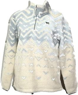 PINK Pullover Sherpa Boyfriend Geometric Sweater Half Zip (Small)