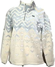 Victoria's Secret PINK Pullover Sherpa Boyfriend Geometric Sweater Half Zip (Small)