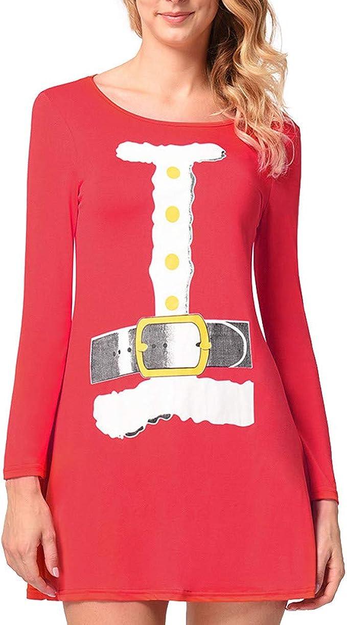 Damen Weihnachten Swing Kleid 9D Gürtel Drucken Lustige Hässliche ...
