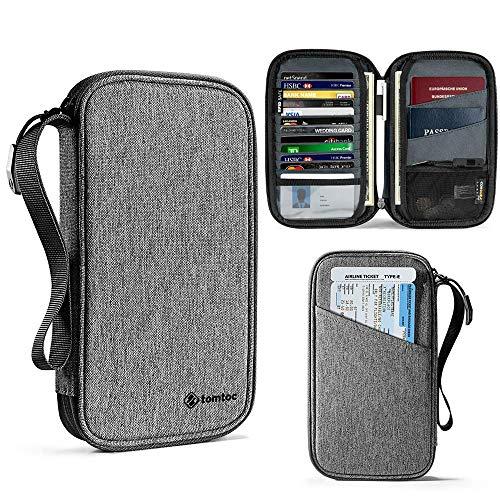 tomtoc Familjepasshållare, RFID-blockeringsreseplånbok, Vattentät biljettinnehavare Dokumentarrangör med kedjerem, Upp Till 4 Pass 11 kreditkort, Inbyggt SIM-korthållare med utmatningsstift