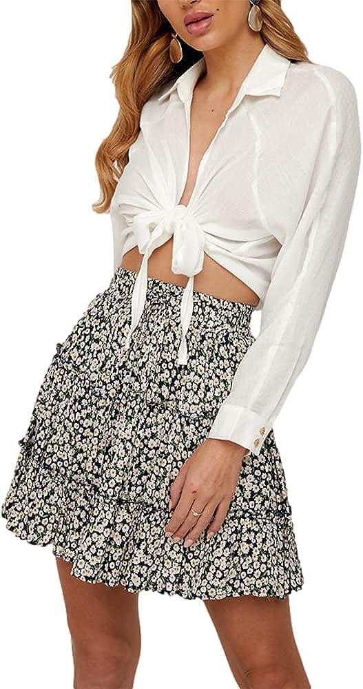 Chvity Womens Summer Flroal Print A-Line Skirt Casual Swing Pleated Elastic Wasit Boho Mini Skirt