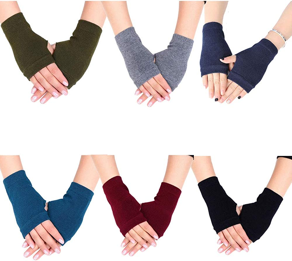 NUANNUAN 6 Pairs Fingerless Warm Gloves Winter Heating Knitting Hands Warm Mitten, Women Mens Cashmere Half Fingers Warm Washable Thermal Elastic Cuff Typing Gloves for Indoor Outdoor Activities