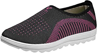 Tanlo 2019 Women's Outdoor Breathable Mesh Flat with Cotton Sneakers Casual Comfort for Walking Stripe Loafers Soft Shoes