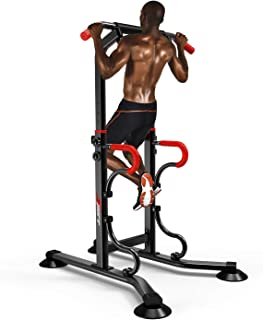 EASY BIG Multifunctional Power Tower Adjustable Heights Workout Dip Station for Adults and Kids Home Gym Strength Training Fitness Equipment Newer Version