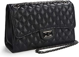 Crossbody Quilted Purse Shoulder Bag for Women with Metal Chain Strap